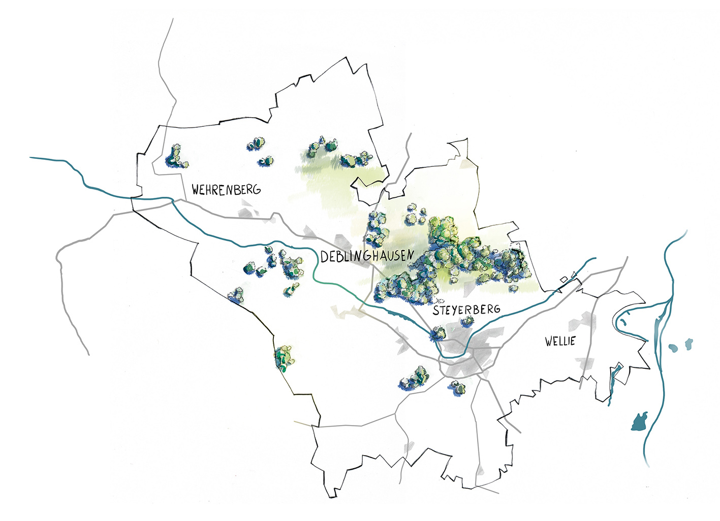 Illustration-Karte-Flecken-Steyerberg-mit-Ortsnamen