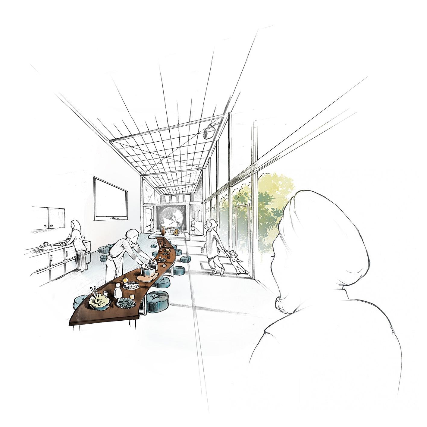 Illustration-Gemeinschaftsraum-Kulturort-Nachbarschaftstreff-Austausch