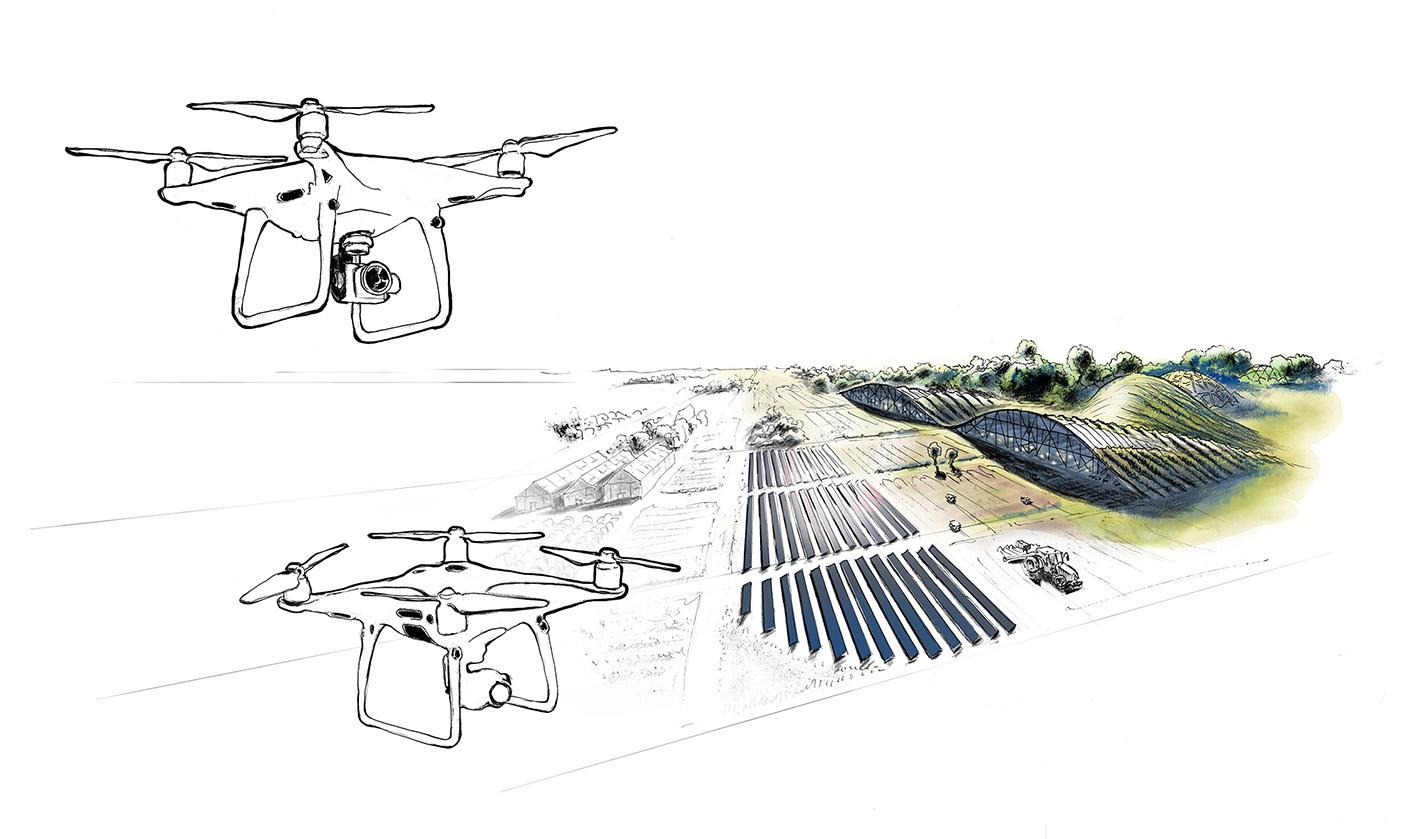 Illustration-zu-Landwirtschaft-Technik-Zukunft-Wirtschaften-mit-Drohnen